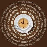 Kopp av klockan i cappuccino Arkivbild