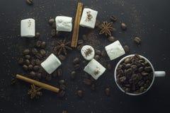 Kopp av svart kaffe och marshmallower med choklad över dem Royaltyfria Bilder