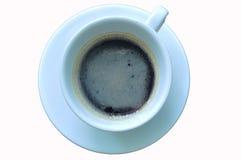 Kopp av svart kaffe på vit bakgrund Fotografering för Bildbyråer