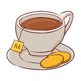 Kopp av tea och kexar royaltyfri illustrationer