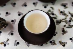 Kopp av uppsättningen för japansk stil för grönt te Arkivfoton