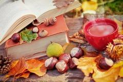Kopp av varma drink, böcker och sidor Royaltyfri Fotografi