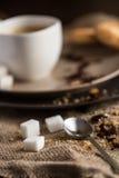 Kopp av varmt espressokaffe och kakan Royaltyfria Bilder