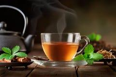 Kopp av varmt te med mintkaramellsidor och kryddor royaltyfri fotografi