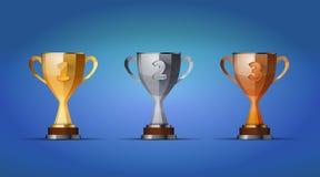 Kopp av vinnareutmärkelsen för först, andra och tredje royaltyfri illustrationer