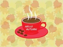 Kopp för Hello höstkaffe och tjänstledighetbakgrund för höstbakgrund Arkivbilder
