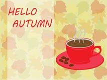 Kopp för Hello höstkaffe och tjänstledighetbakgrund för höstbakgrund Royaltyfri Fotografi