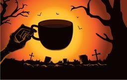Kopp för kaffe för levande dödhand hållande på kyrkogården vektor illustrationer
