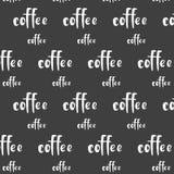 Kopp för meny för matställe för kafé för vitt kaffe för modellprydnadvektor av stilsorten för korninskriftord på svart bakgrund royaltyfri illustrationer