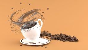Kopp för vitt kaffe med färgstänk på brun bakgrund, kaffekopp royaltyfri illustrationer