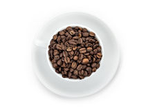 Kopp för vitt kaffe med tefatet Royaltyfri Foto