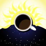 Kopp kaffe, bakgrund-sol och stj?rnklar himmel vektor illustrationer