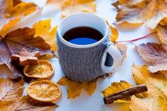 Kopp kaffe eller te med citronen Fotografering för Bildbyråer