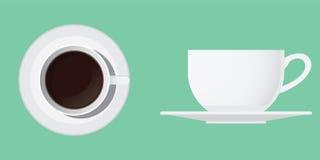 Kopp kaffe från överkant och sida Arkivfoton