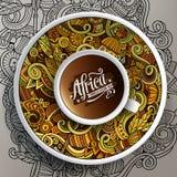 Kopp kaffe för klotter för vektorillustration afrikansk Royaltyfria Bilder
