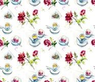 Kopp kaffe, hallonkaka på kafét och rosor Handpainted illustration för vattenfärg skissa royaltyfri illustrationer