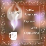 Kopp kaffe med ånga på en suddig bakgrund meny Utrymme för text Arkivfoto