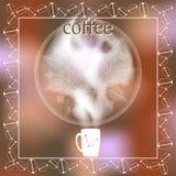 Kopp kaffe med ånga på en suddig bakgrund meny Utrymme för text stock illustrationer