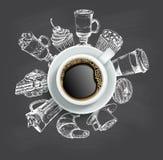 Kopp kaffe med mallen för design för svart tavla för sötsakvektor stock illustrationer