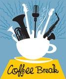 Kopp kaffe med olika musikinstrument royaltyfri illustrationer