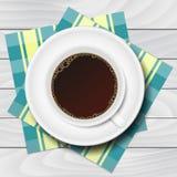 Kopp kaffe med rutiga servetter på den vita trätabellen Vektor Illustrationer