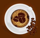 Kopp kaffe med tecknet Arkivbilder