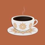 Kopp kaffe med utsmyckade östliga runda beståndsdelar Royaltyfri Foto