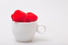 Kopp kaffe med valentin Royaltyfria Foton