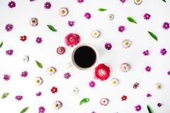 Kopp kaffe- och blommaknoppmodell Arkivfoton