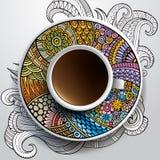 Kopp kaffe och hand dragen blom- prydnad Fotografering för Bildbyråer