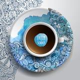 Kopp kaffe och hand dragen vattenfärgsommar stock illustrationer