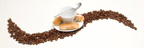 Kopp kaffe och kakor Fotografering för Bildbyråer