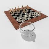 Kopp kaffe och tolkning för schack 3d Royaltyfri Bild