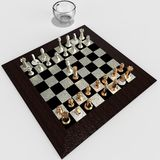 Kopp kaffe och tolkning för schack 3d Royaltyfri Foto