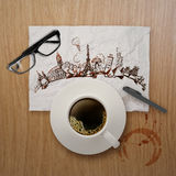 kopp kaffe som 3d runt om världen reser Royaltyfria Bilder