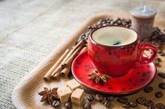 Kopp kaffe som dekoreras på med kryddor Royaltyfri Bild