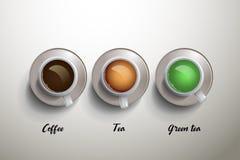 Kopp kaffe, te och grönt te passande bruk för meny Royaltyfria Bilder