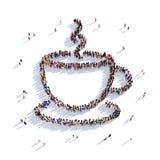 Kopp kaffekopp tefolk 3d Royaltyfri Bild
