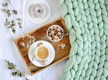 Kopp med cappuccino, doughnutt, grön pastellfärgad jätte- pläd Royaltyfri Fotografi