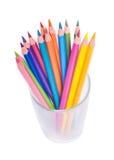 Kopp med färgrika blyertspennor Fotografering för Bildbyråer