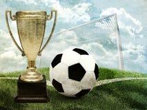 Kopp med fotboll och portar Arkivfoton