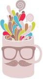 Kopp med hipstermustaschen och exponeringsglas Arkivbild