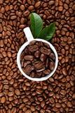 Kopp med kaffe på korn för ett bakgrundskaffe Royaltyfria Bilder