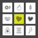 kopp påse, flaggor, hjärtor, kamera, gunstling, flagga, eps-ico vektor illustrationer