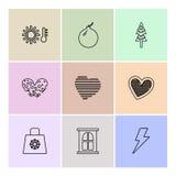 kopp påse, flaggor, hjärtor, kamera, gunstling, flagga, eps-ico stock illustrationer