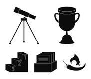 Kopp, pris, teleskop, katalog i en ask och sockel av heder Fastställda samlingssymboler för skola i svart stilvektorsymbol vektor illustrationer