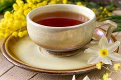 Kopp te dekorerade med en kvist av mimosan och pingstliljan Royaltyfri Bild