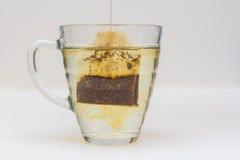 Kopp te i exponeringsglas med tepåsen royaltyfri bild