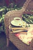 Kopp te med böcker och kamomillar på en stol Fotografering för Bildbyråer