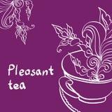 Kopp te med bladet Royaltyfri Illustrationer